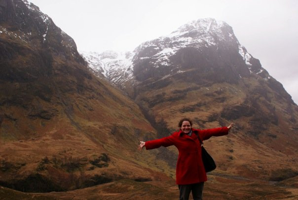 Now she visits even bigger cliffs in Scotland!